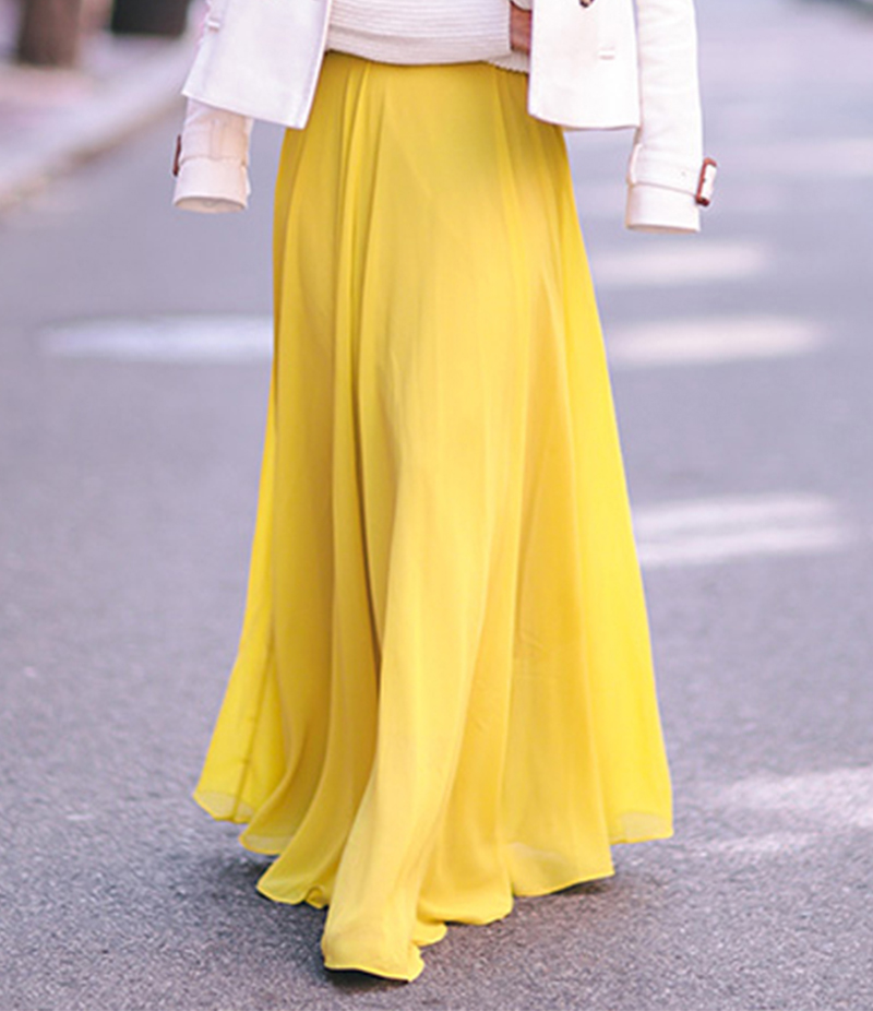 Women Yellow Stylish Pleated Chiffon Long Skirts. E4H-110132
