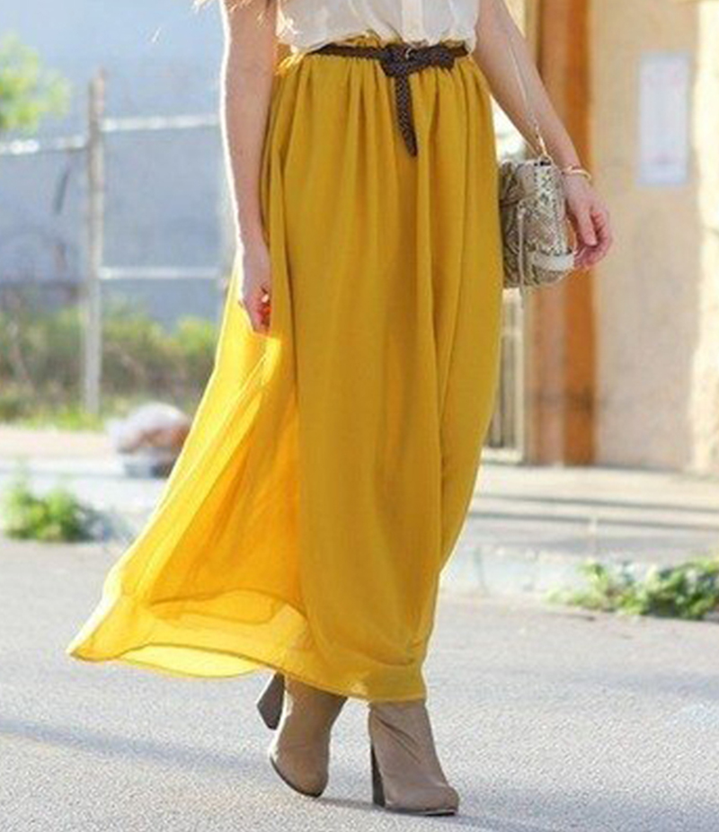 Women's Yellow Chiffon Long Skirt. E4H-110138