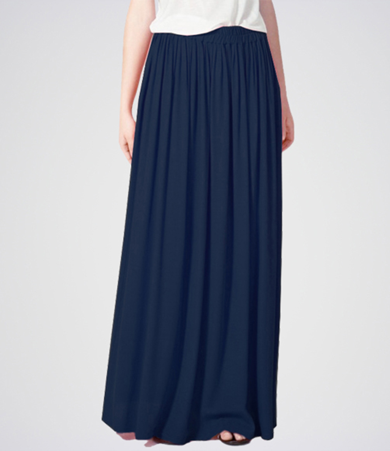 E4H - Women's Navy Blue Linen Long Skirt. E4H-11014