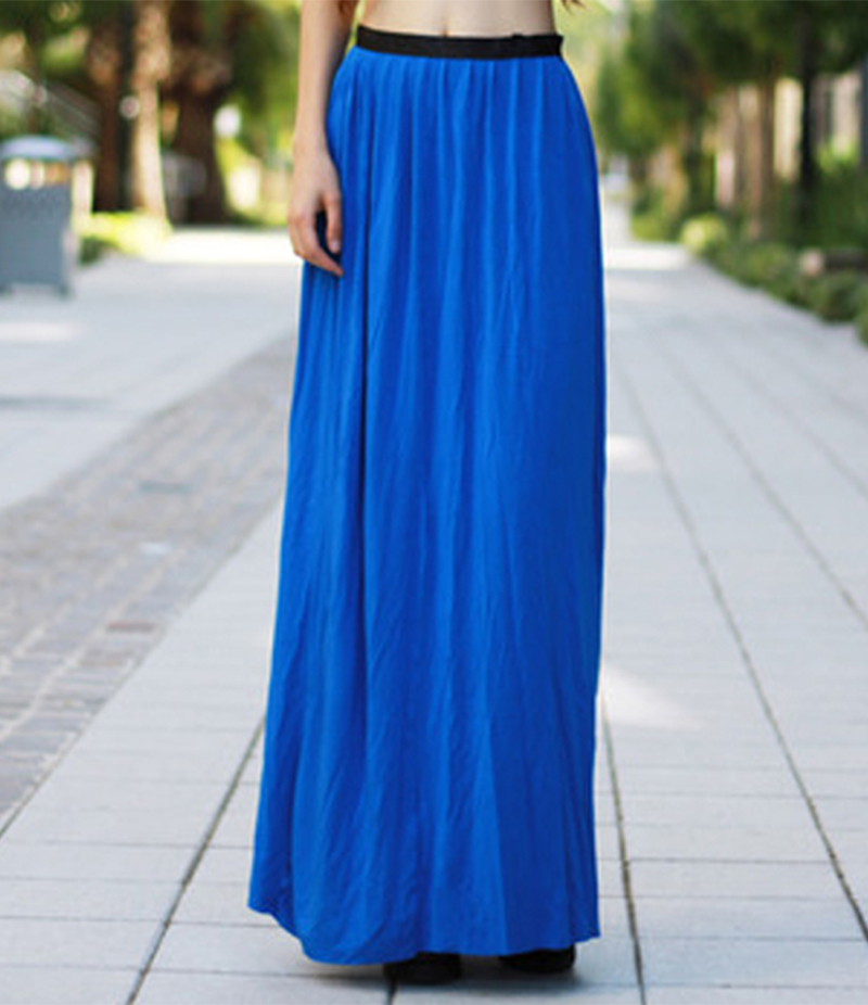 Women's Royal Blue Linen Long Skirt. E4H-110141