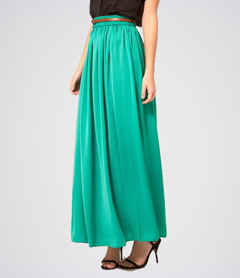 Women's Green Linen Long Skirt. E4H-110145
