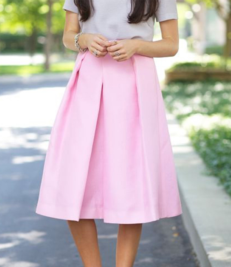 Women's Pink Cotton Midi Skirt. E4H-110147