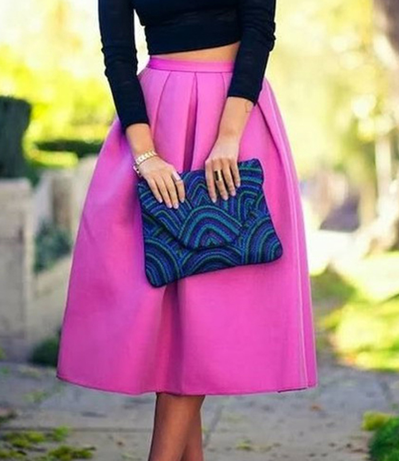 Women's Hot Pink Cotton Midi Skirt. E4H-110148