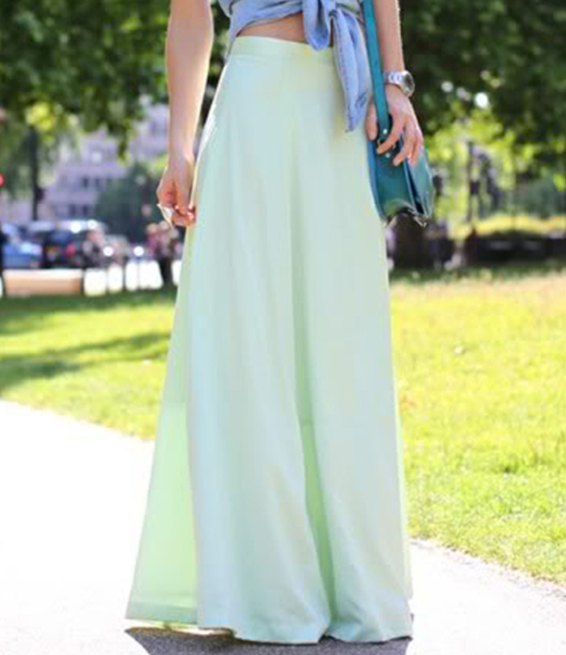 Women's Sea Green Linen Long Skirts. E4H-110149