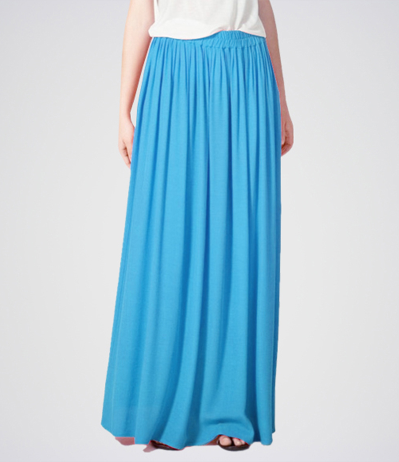 Women's Sky Blue Linen Long Skirt. E4H-11015