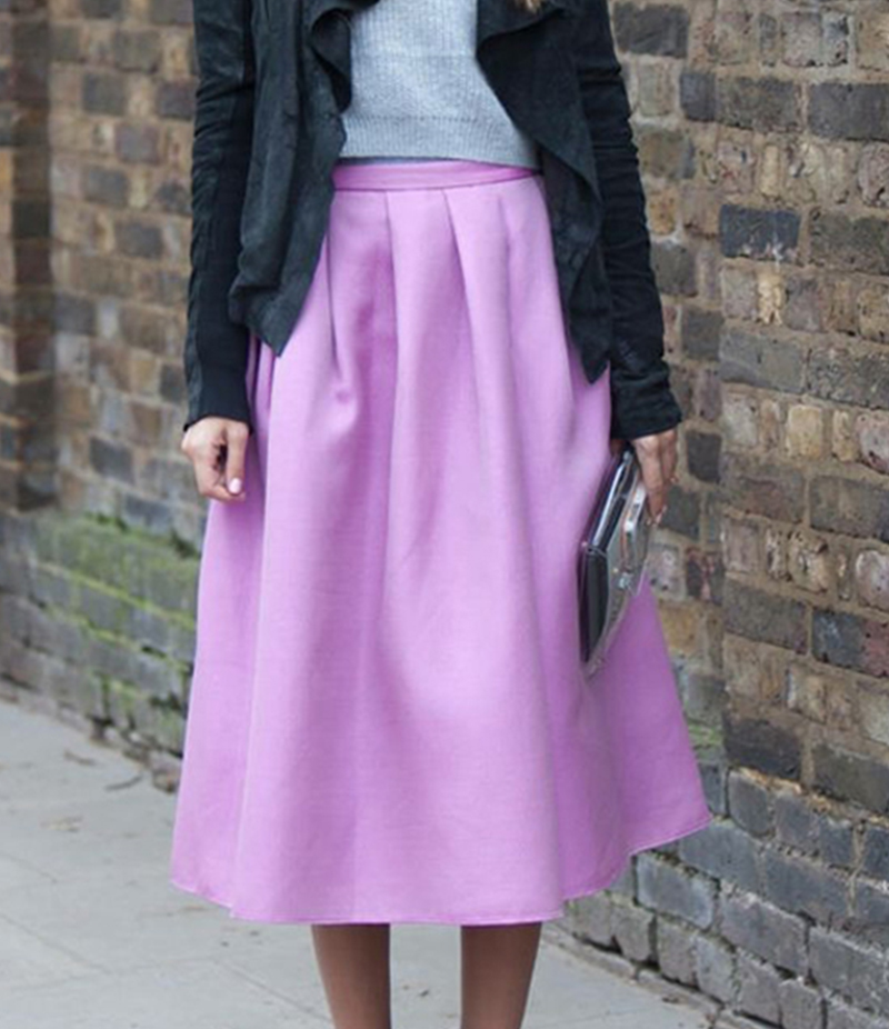 Women's Baby Pink Cotton Midi Skirt. E4H-110150