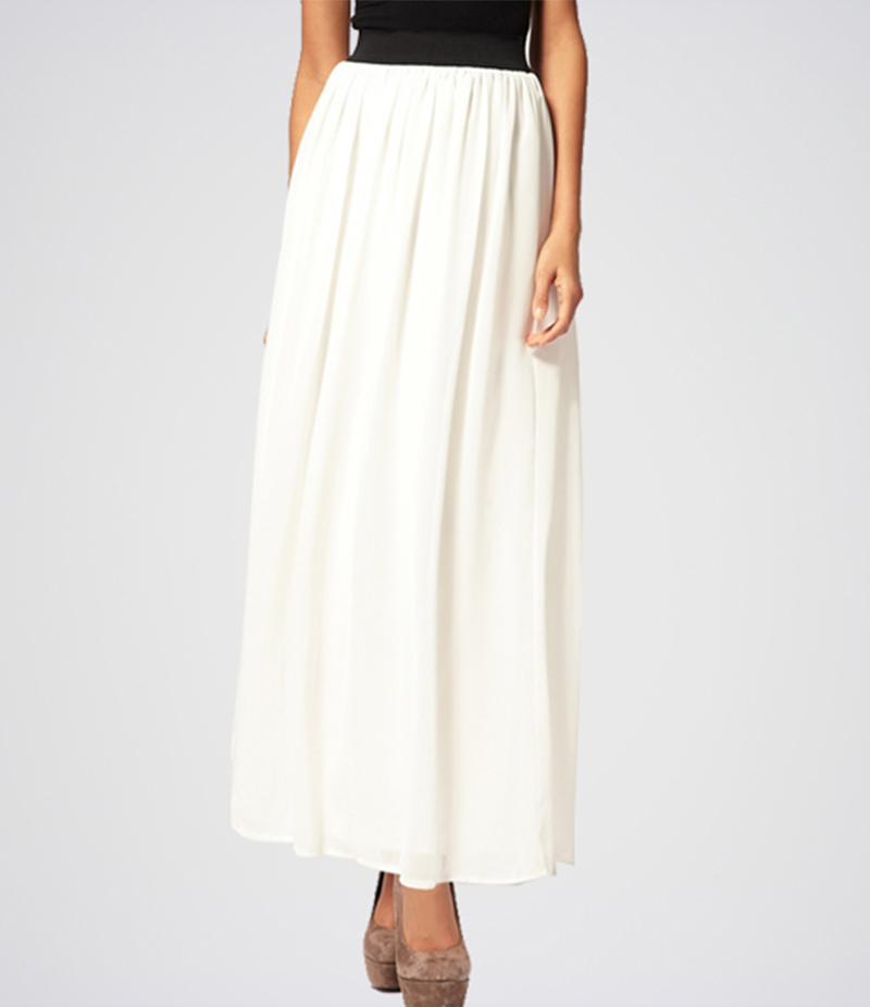 Women White Stylish Pleated Chiffon Long Skirt. E4H-110152