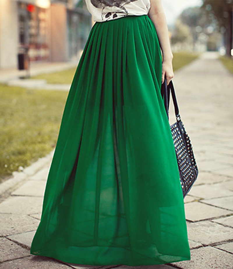 Women's Dark Green Pleated Satin Chiffon Skirt. E4H-110153