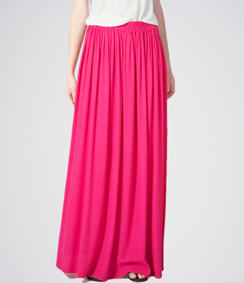 Women's Pink Linen Long Skirt. E4H-11016
