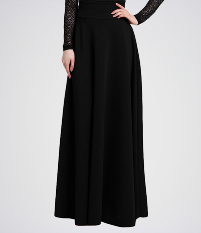 Women's Black Linen Long Skirts. E4H-11017