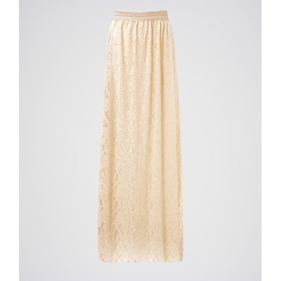 Women's Off-White Cotton Net Long Skirt. E4H-11020
