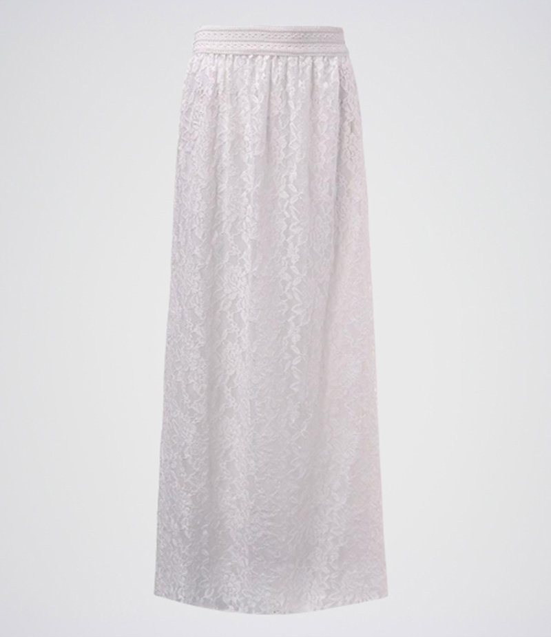 Women's White Cotton Net Long Skirt. E4H-11021
