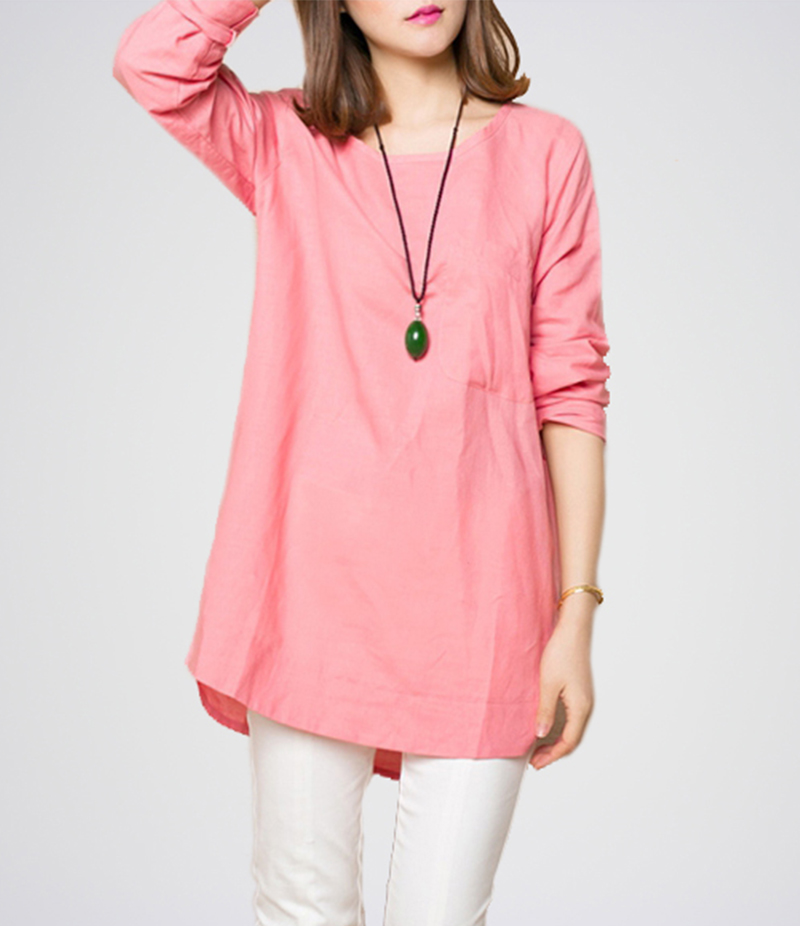 Women's Baby Pink  Long Sleeves Top. E4H-14