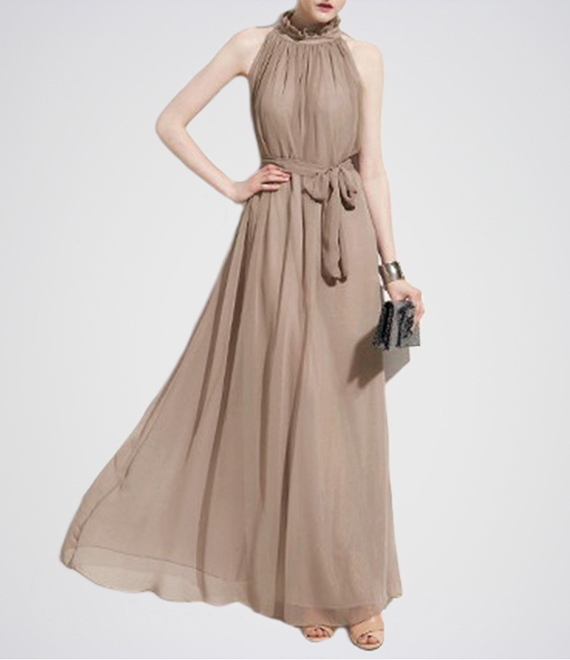 Women's Beige Belt Band Collar Sleeveless Chiffon Dress. E4H-17-BE
