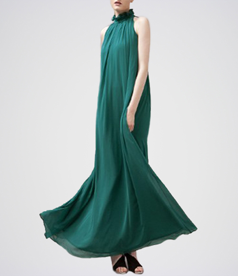 Women's Green Belt Band Collar Sleeveless Chiffon Dress. E4H-17-GR