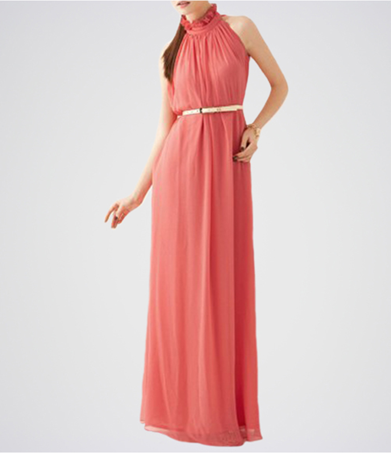 Women's Peach Belt Band Collar Sleeveless Chiffon Dress. E4H-17-IR