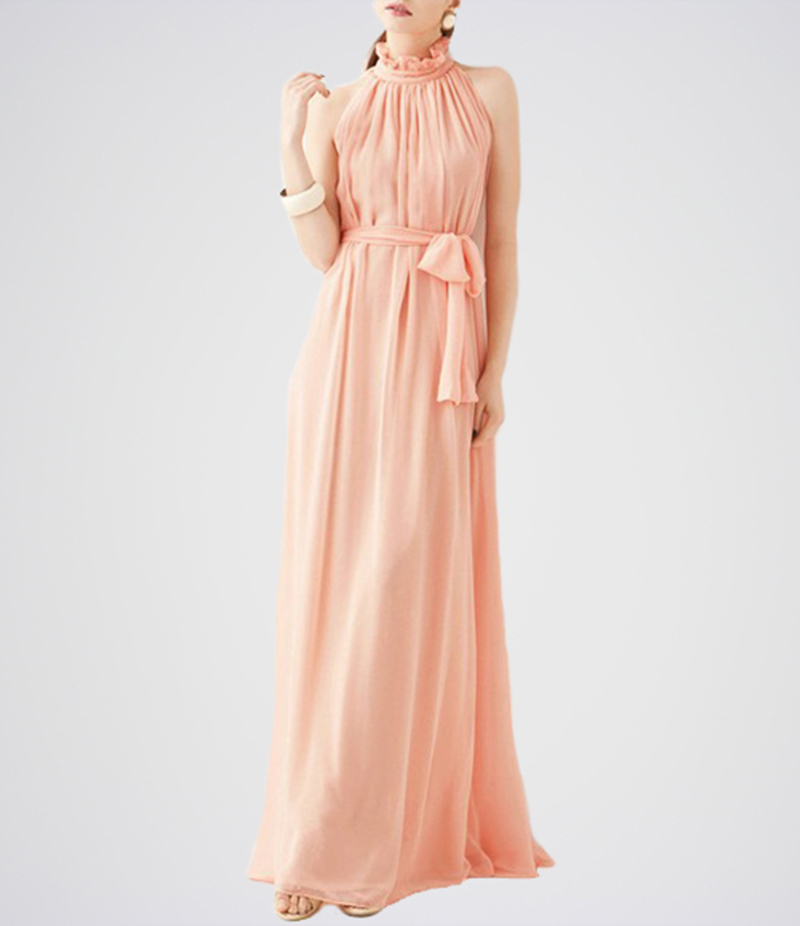 Women's Pink Belt Band Collar Sleeveless Chiffon Dress. E4H-17-PH