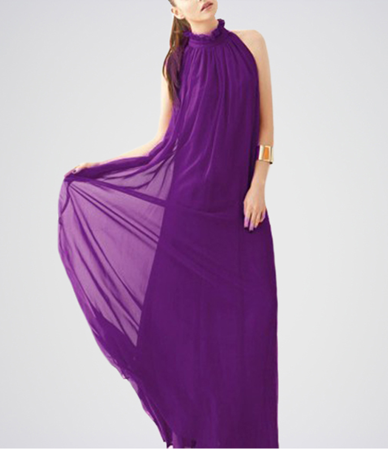 Women's Purple Belt Band Collar Sleeveless Chiffon Dress. E4H-17-PR