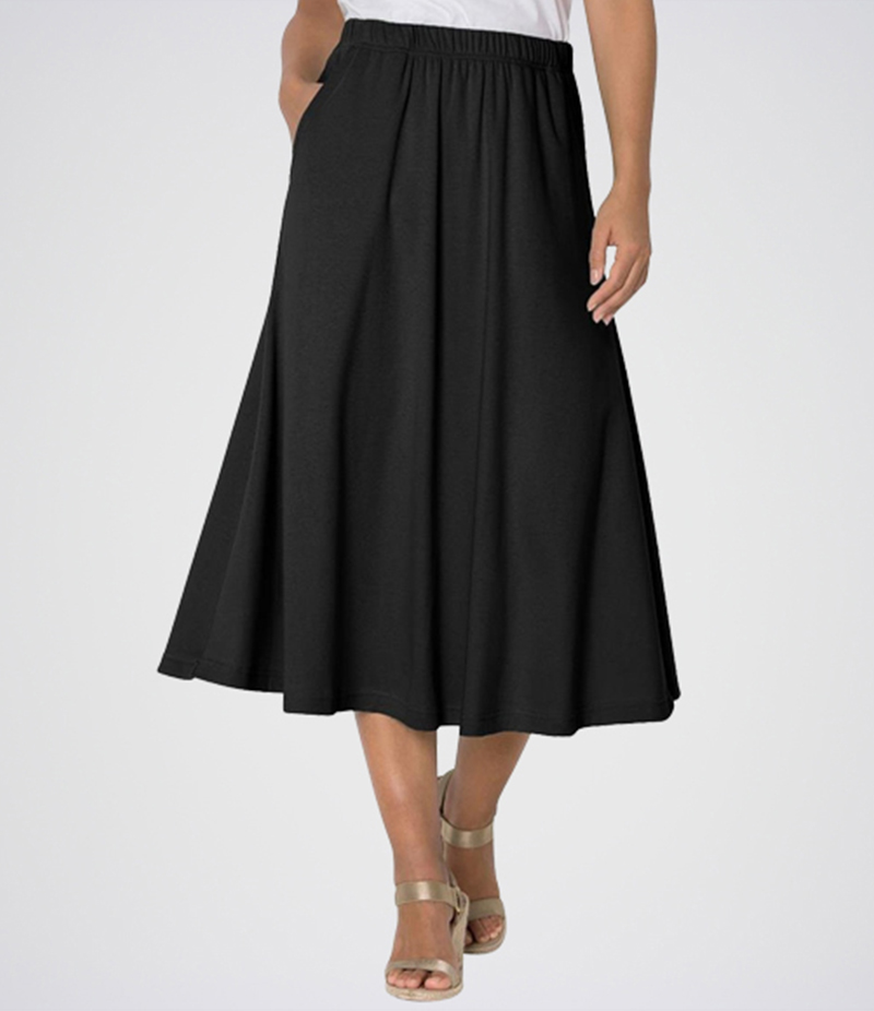 Women's Black Linen Short Skirt. E4H-ALNBLK