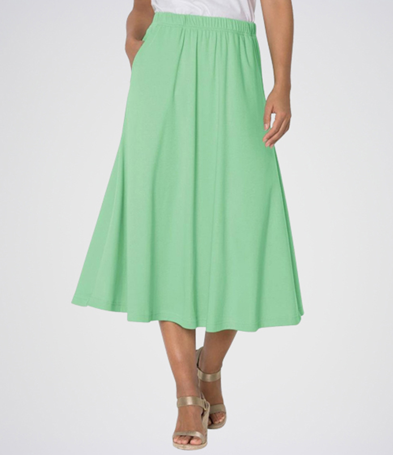 E4H - Women's Parriot Green Linen Short Skirt. E4H-ALNGRN