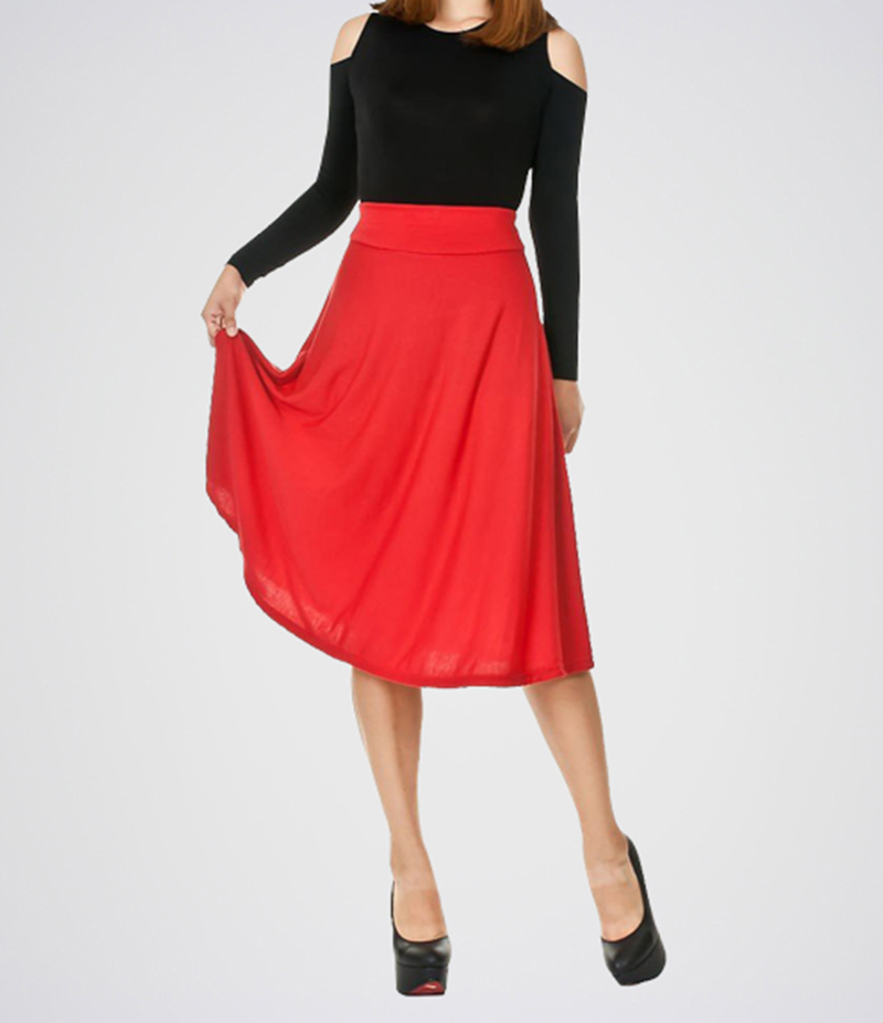 Women's Red Linen Midi Skirt. E4H-BBPSKT