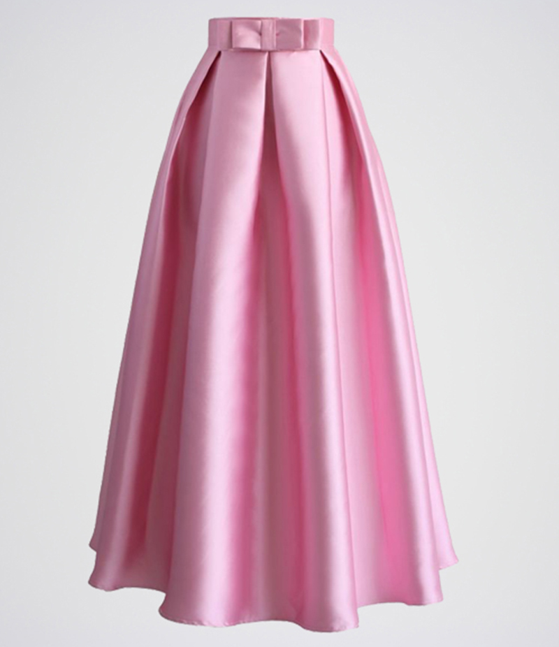 Women's Pink Silk Pleated Long Skirt. E4H-BBS015