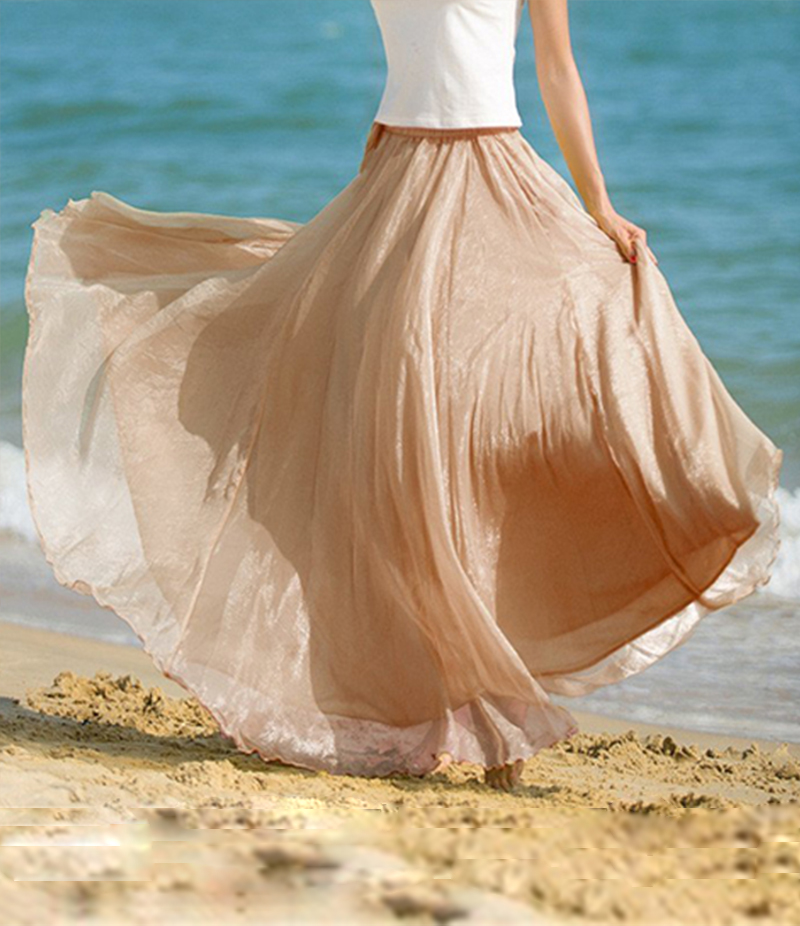 Women's Beige Chiffon Long Skirt. E4H-BEGSKT