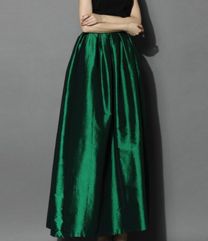 Women's Green Silk Pleated Long Skirt. E4H-BGR017