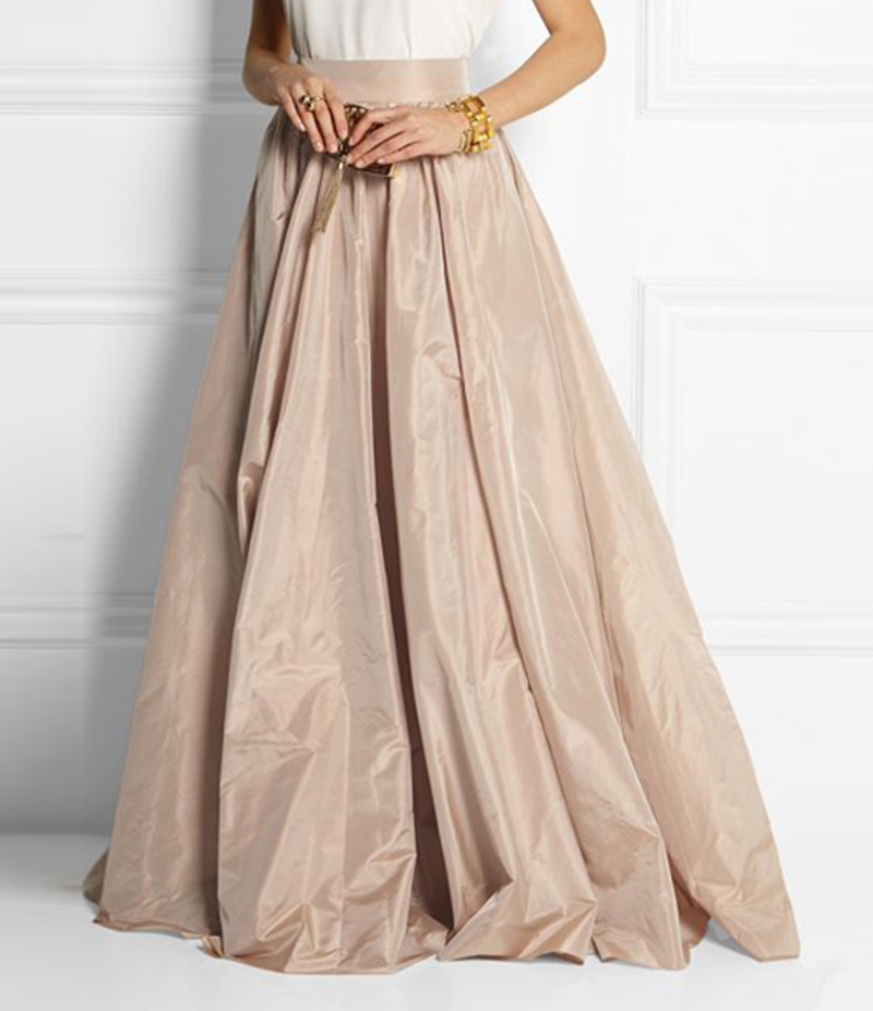 Women's Beige Silk Pleated Long Skirt. E4H-BGS016