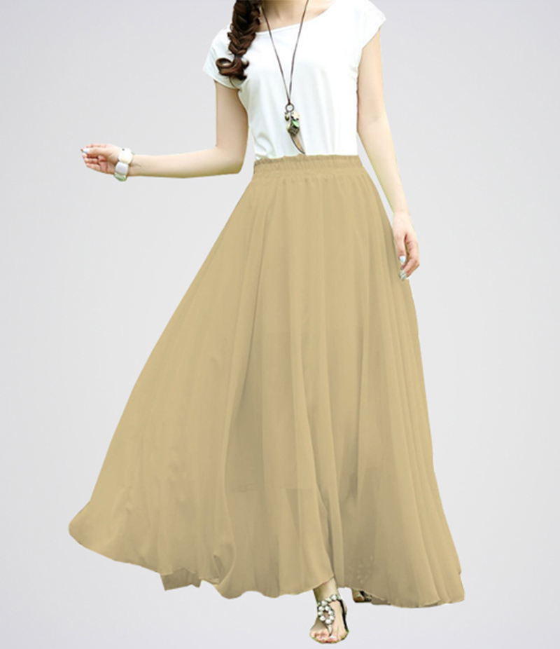 Beige Retro Maxi Linen Long Skirt Dress. E4h-Bgw038