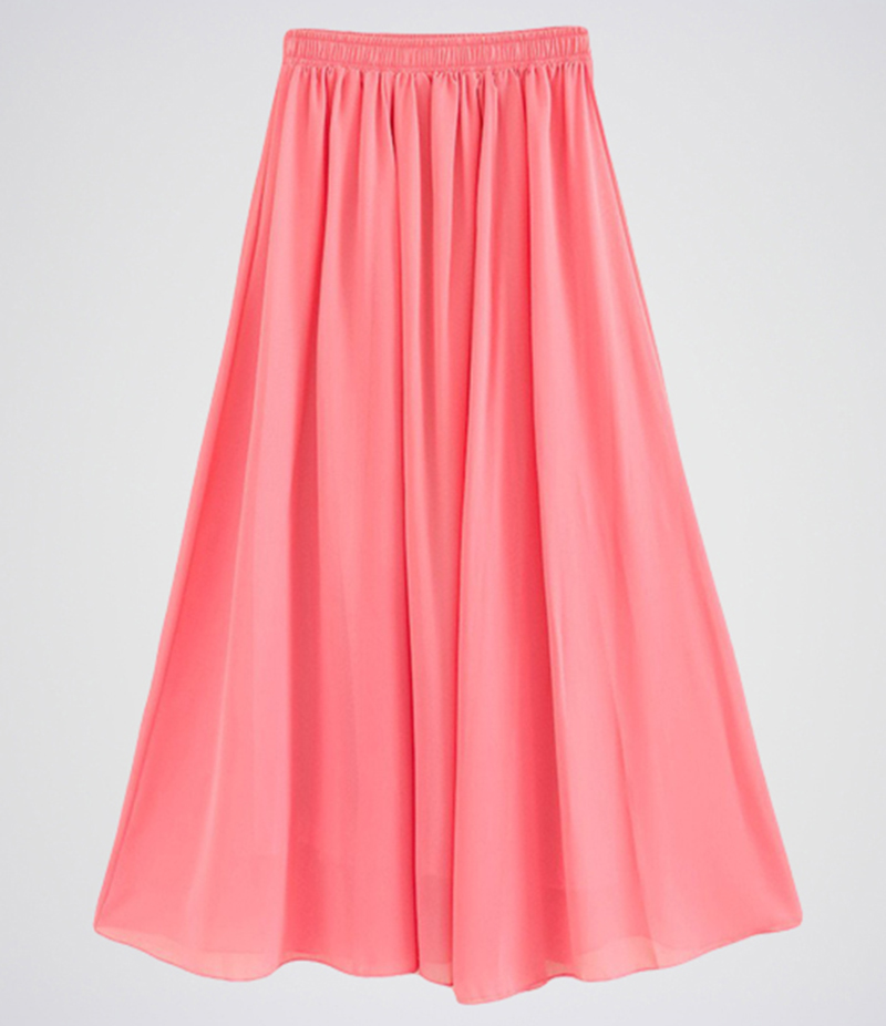 Women's Hot Pink Chiffon Long Skirt. E4H-BKRTBBP