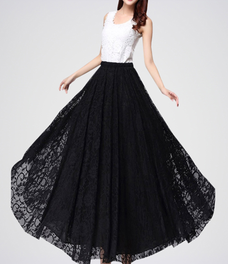 Black And White Retro Long Maxi Skirt. E4h-Bkw033