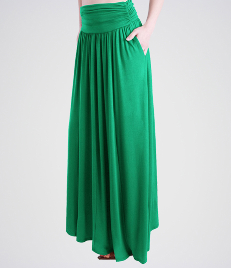 Women's Green Linen Long Skirts. E4H-BLCK