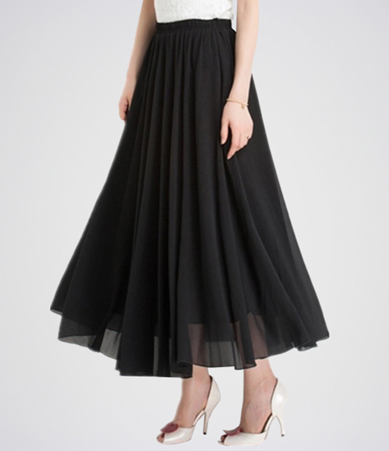 Women's Jet Black Chiffon Long Skirt. E4H-BLKSKT