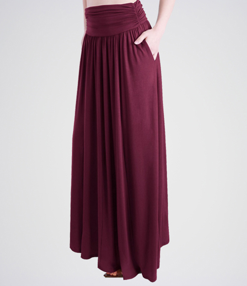 Women's Burgandy Linen Long Skirts. E4H-BRGNDY