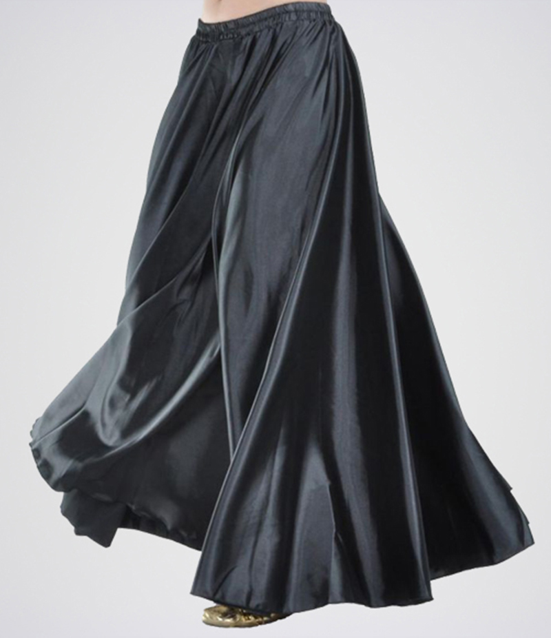 Women's Black Silk Long Skirt. E4H-BSK03