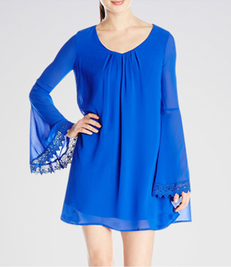 Women's Blue Plated Neck Lace Sleeves Short Dress. E4H-BU23