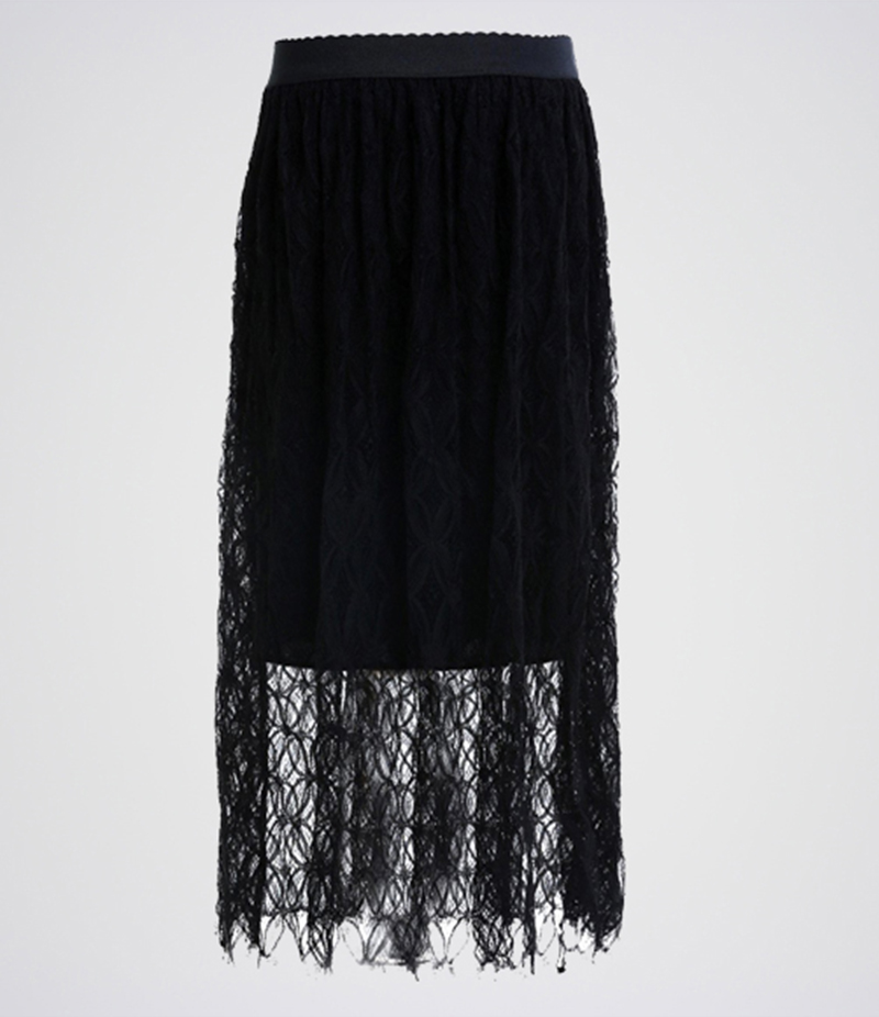 Women's Black Cotton Net Long Skirt. E4H-FLRBLK