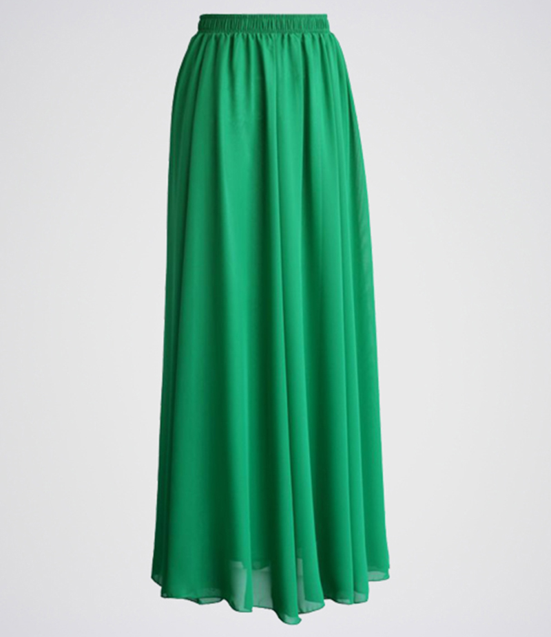 Women's Green Chiffon Long Skirt. E4H-GMS010