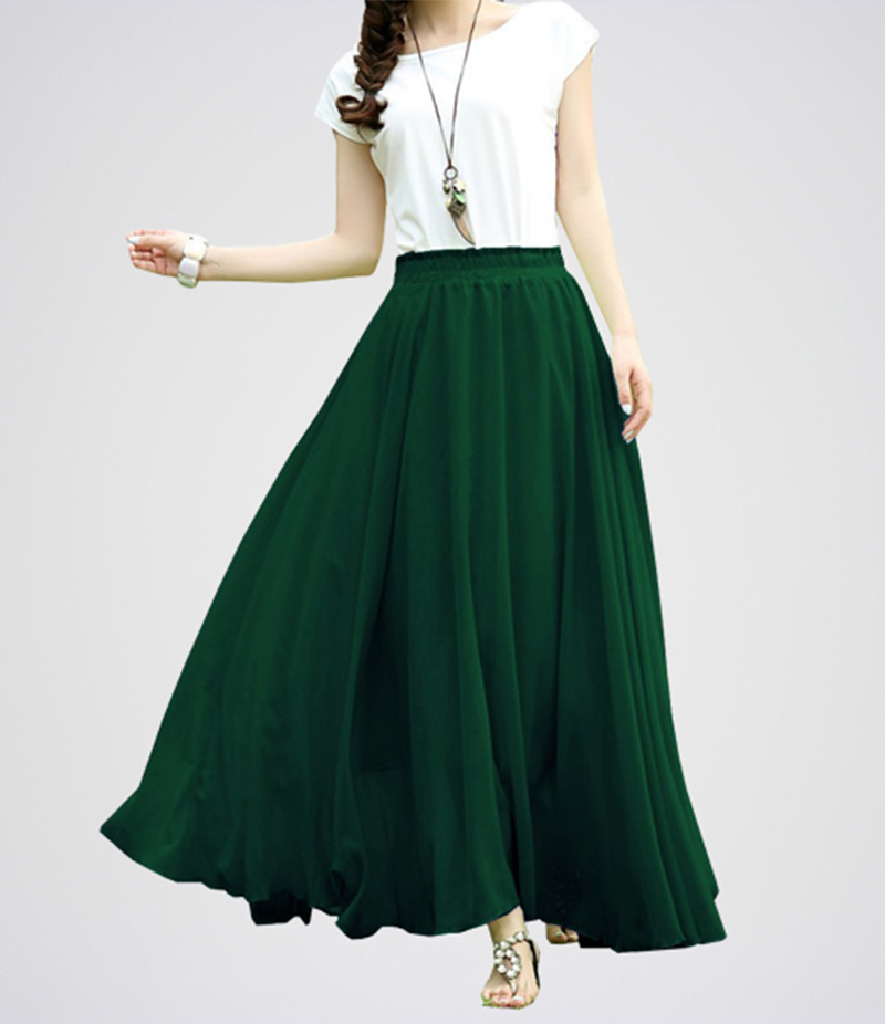 Green Retro Maxi Linen Long Skirt Dress.E4H-GNW042