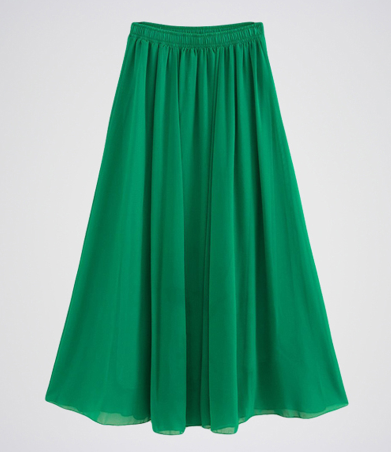 Women's Dim Green Chiffon Long Skirt. E4H-GRNSKRT11
