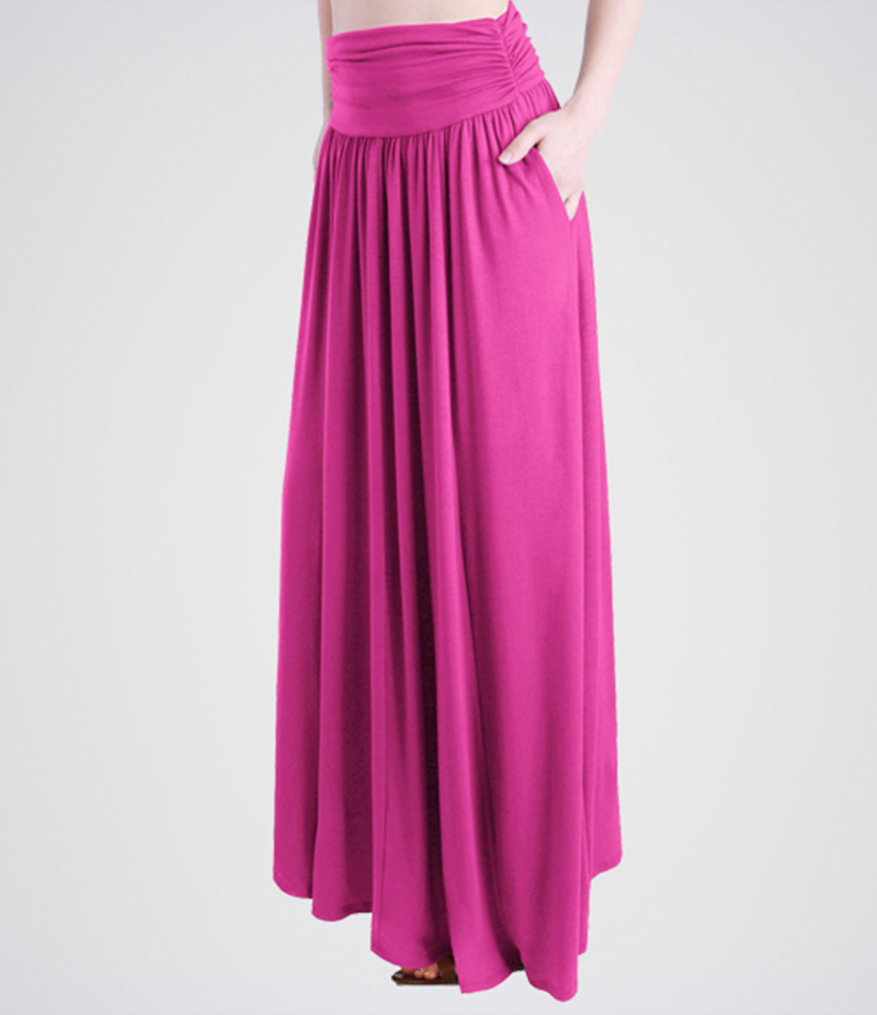 Women's Hot Pink Linen Long Skirts. E4H-HTPNK