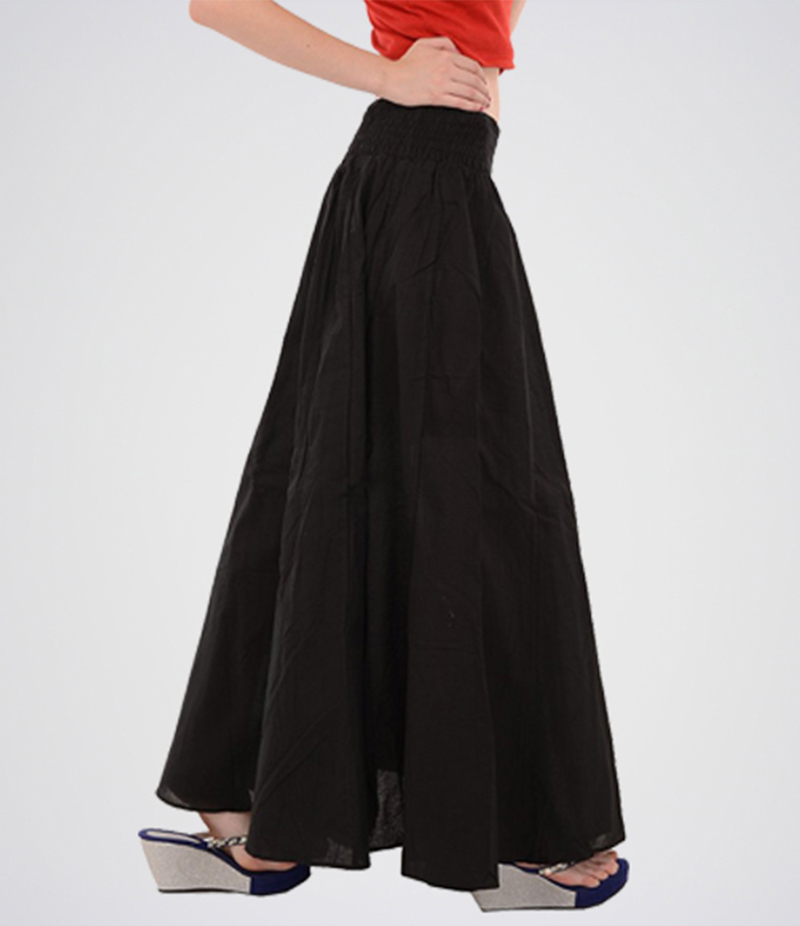 Black Pure Cotton Long Maxi Skirt. E4h-Maxiblk