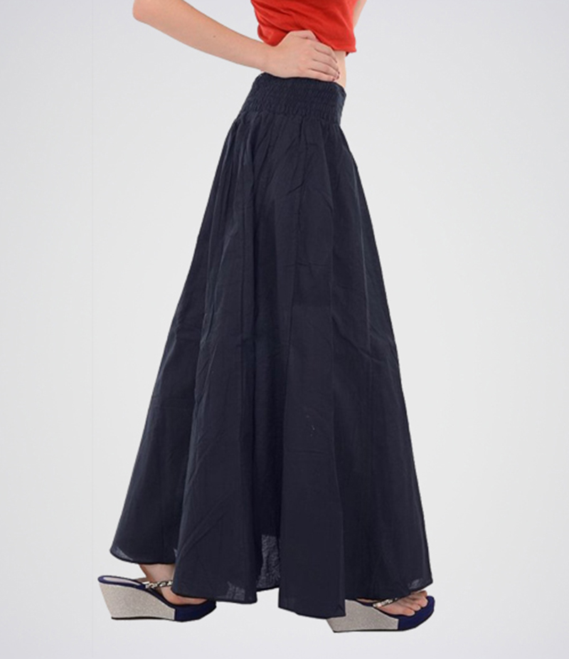 Women's Navy Blue Cotton Long Skirt. E4H-MAXINVBL
