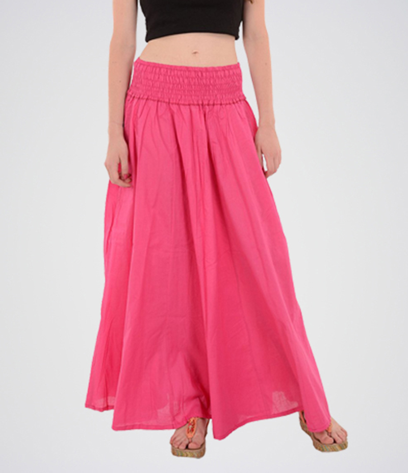 Women's Pink Cotton Long Skirt. E4H-MAXIPNK