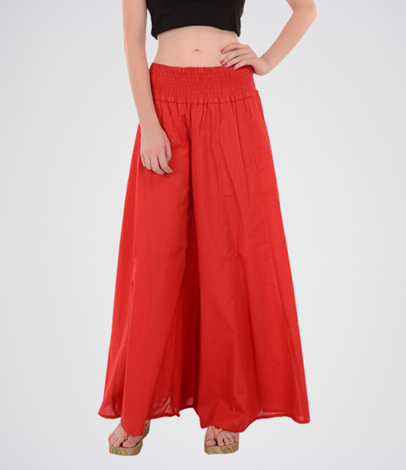 Women's Red Cotton Long Skirt. E4H-MAXIRD