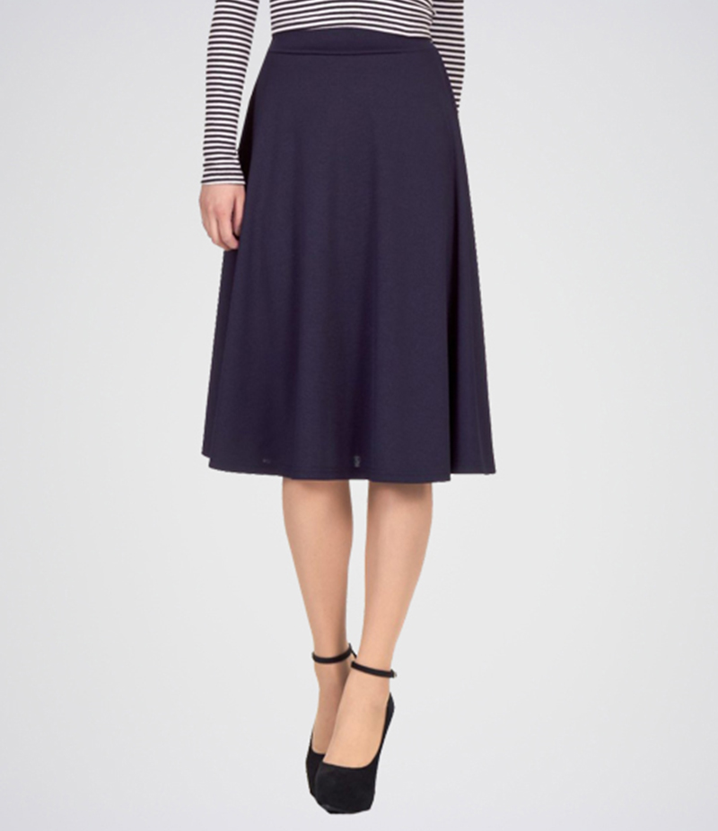 Women's Navy Blue Linen Midi Skirt. E4H-MIDINVB