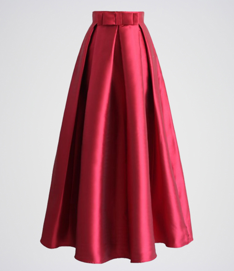 Women's Red Silk Pleated Long Skirt. E4H-MSS014