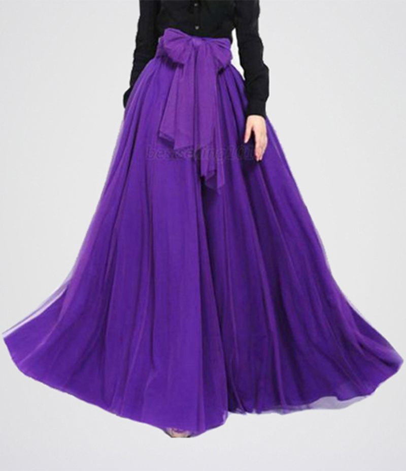 Women's Purple Stylish Maxi Skirt. E4h-Pms030