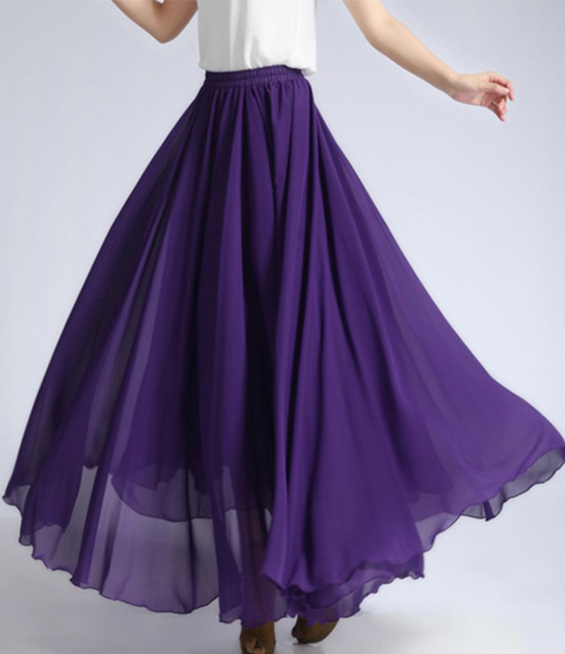 Women's Purple Extra Wide Flare Chiffon Maxi Skirt. E4H-PMS09